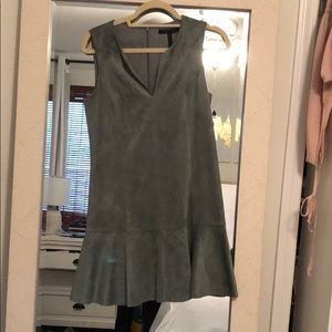 BCBG green suede fit and flare dress